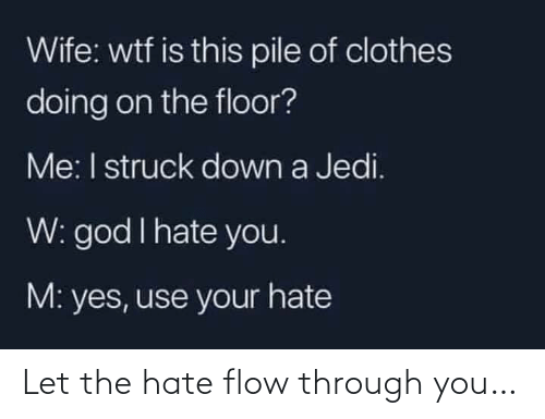 Hate You: Wife: wtf is this pile of clothes  doing on the floor?  Me: I struck down a Jedi.  W: god I hate you.  M: yes, use your hate Let the hate flow through you…