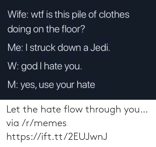 Hate You: Wife: wtf is this pile of clothes  doing on the floor?  Me: I struck down a Jedi.  W: god I hate you.  M: yes, use your hate Let the hate flow through you… via /r/memes https://ift.tt/2EUJwnJ