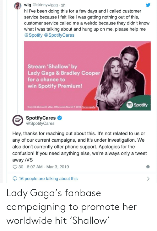 Funny, Lady Gaga, and Phone: wig @skinnywiggg 3h  hi i've been doing this for a few days and i called customer  service because i felt like i was getting nothing out of this,  customer service called me a weirdo because they didn't know  what i was talking about and hung up on me. please help me  @Spotify @SpotifyCares  Stream 'Shallow' by  Lady Gaga & Bradley Cooper  for a chance to  win Spotify Premium!  Spotify  Only $9.99month after. Offer ends March 7, 2019 Terms apply  SpotifyCares  @SpotifyCares  Hey, thanks for reaching out about this. It's not related to us or  any of our current campaigns, and it's under investigation. We  also don't currently offer phone support. Apologies for the  confusion! If you need anything else, we're always only a tweet  away /VS  C930 6:07 AM-Mar 3, 2019  16 people are talking about this Lady Gaga's fanbase campaigning to promote her worldwide hit 'Shallow'