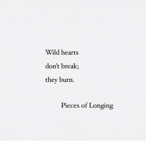 Break, Hearts, and Wild: Wild hearts  don't break;  they burn  Pieces of Longing