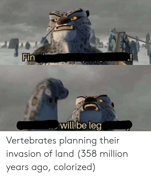 Invasion, Will, and Their: will be leg Vertebrates planning their invasion of land (358 million years ago, colorized)