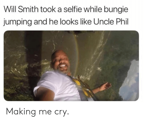 Dank, Selfie, and Will Smith: Will Smith took a selfie while bungie  jumping and he looks like Uncle Phil Making me cry.