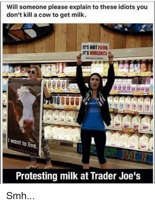 Protesting Milk: Will someone please explain to these idiots you  don't kill a cow to get milk  ITS NOT FO0D  ITS VIOLENCE  want to live  Protesting milk at Trader Joe's Smh...