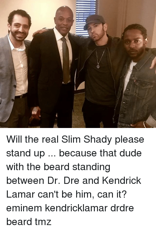 Will The Real Slim Shady: Will the real Slim Shady please stand up ... because that dude with the beard standing between Dr. Dre and Kendrick Lamar can't be him, can it? eminem kendricklamar drdre beard tmz