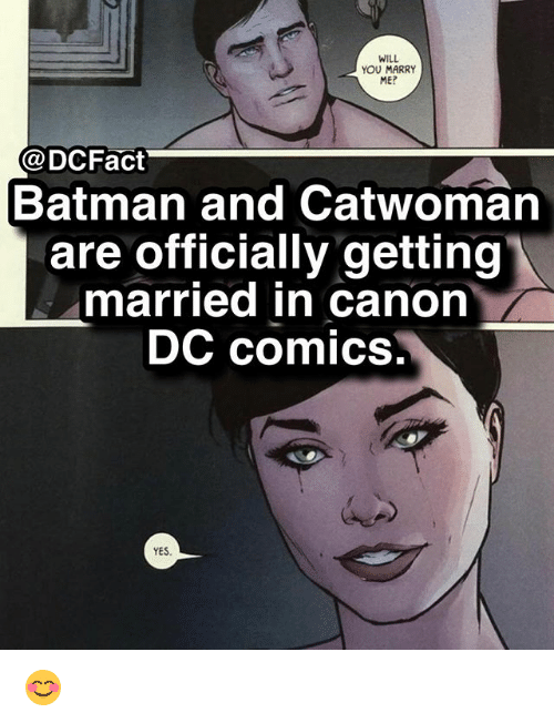 will you marry me: WILL  YOU MARRY  ME?  aDCFact  Batman and Catwoman  are officially getting  married in canon  DC comics,  YES 😊