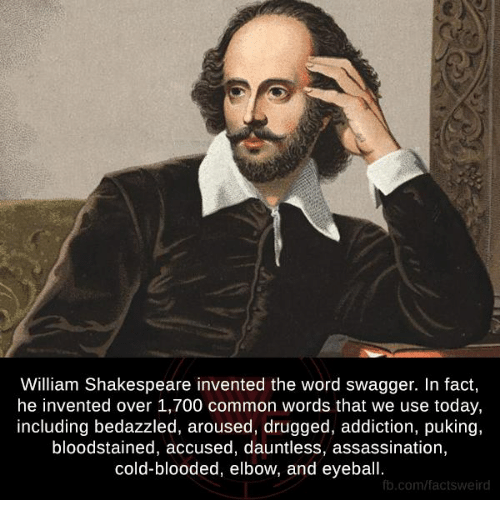 Arousing: William Shakespeare invented the word swagger. In fact,  he invented over 1,700 common words that we use today,  including bedazzled, aroused, drugged, addiction, puking,  bloodstained, accused, dauntless, assassination,  cold-blooded, elbow, and eyeball.  fb.com/factsweird