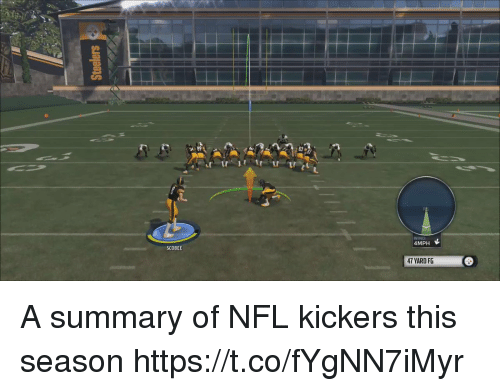 Nfl, Sports, and Wind: WIND  4MPH  SCOBEE  47 YARD FG A summary of NFL kickers this season https://t.co/fYgNN7iMyr