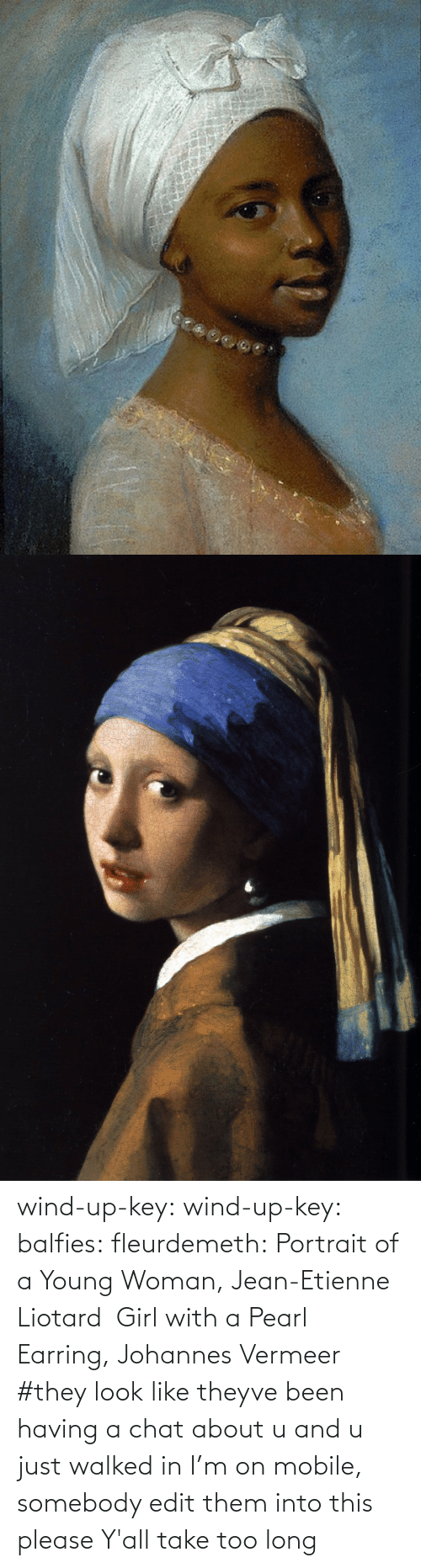 edit: wind-up-key: wind-up-key:   balfies:  fleurdemeth:  Portrait of a Young Woman, Jean-Etienne Liotard Girl with a Pearl Earring, Johannes Vermeer  #they look like theyve been having a chat about u and u just walked in   I'm on mobile, somebody edit them into this please   Y'all take too long