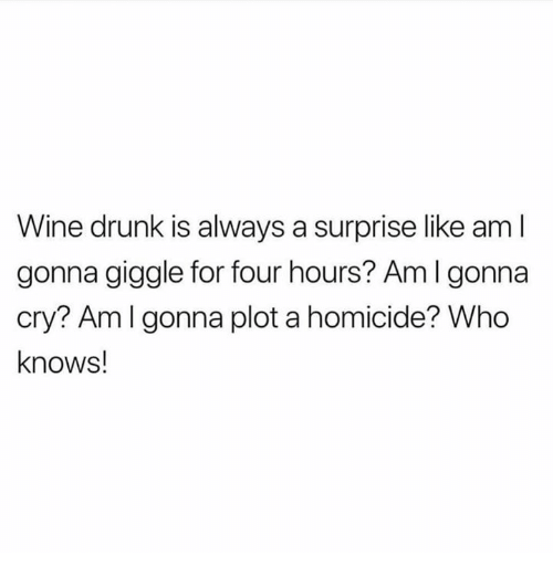 Drunk, Wine, and Humans of Tumblr: Wine drunk is always a surprise like aml  gonna giggle for four hours? Aml gonna  cry? Amlgonna plot a homicide? Who  knows!