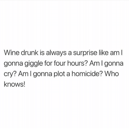 Drunk, Wine, and Humans of Tumblr: Wine drunk is always a surprise like aml  gonna giggle for four hours? Am I gonna  cry? Amlgonna plot a homicide? Who  knows!