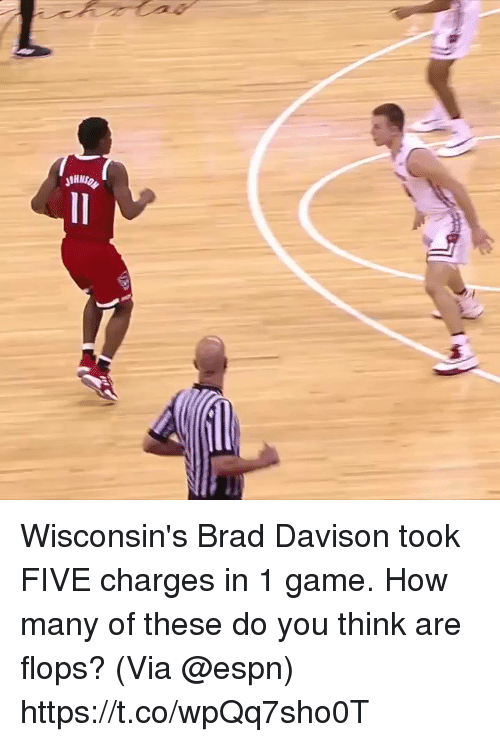 Espn, Memes, and Game: Wisconsin's Brad Davison took FIVE charges in 1 game.   How many of these do you think are flops?  (Via @espn)    https://t.co/wpQq7sho0T