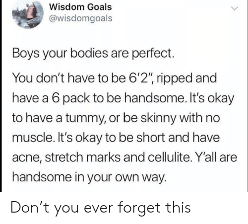 """Bodies , Goals, and Skinny: Wisdom Goals  @wisdomgoals  Boys your bodies are perfect.  You don't have to be 6'2"""", ripped and  have a 6 pack to be handsome. It's okay  to have a tummy, or be skinny with no  muscle. It's okay to be short and have  acne, stretch marks and cellulite. Y'all are  handsome in your own way. Don't you ever forget this"""