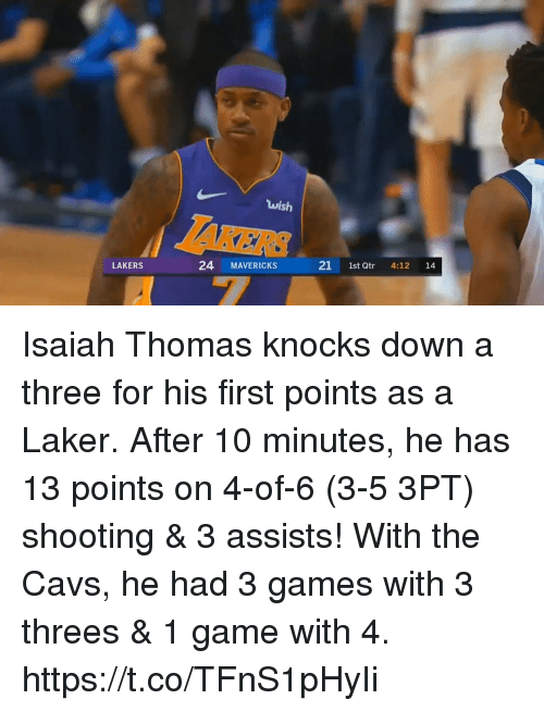 laker: wish  24 MAVERICKS 21t Qtr 4:12 1  LAKERS Isaiah Thomas knocks down a three for his first points as a Laker.  After 10 minutes, he has 13 points on 4-of-6 (3-5 3PT) shooting & 3 assists!   With the Cavs, he had 3 games with 3 threes & 1 game with 4. https://t.co/TFnS1pHyIi