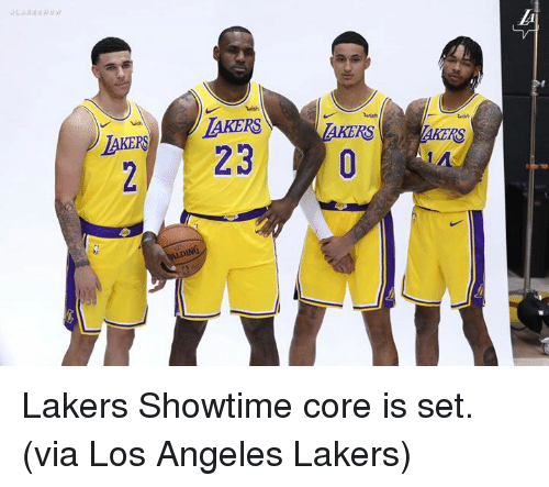 Los Angeles Lakers, Los-Angeles-Lakers, and Los Angeles: wish  AKERLAKERS  2 23  RS  RS  AIDING Lakers Showtime core is set.  (via Los Angeles Lakers)