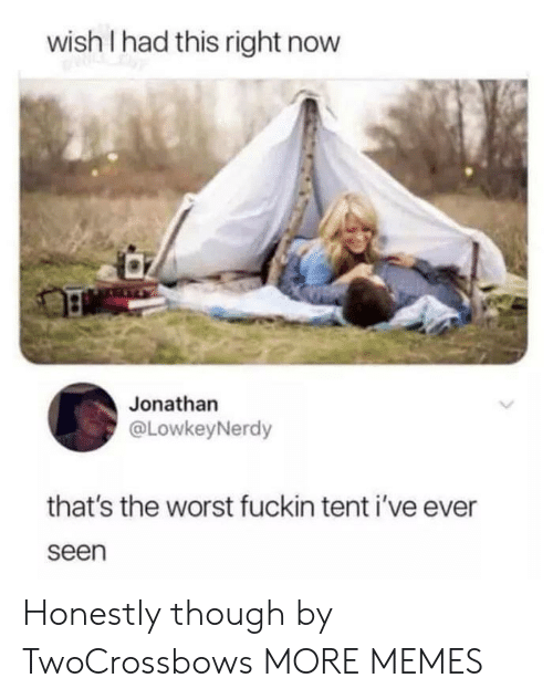 Dank, Memes, and Target: wish I had this right now  Jonathan  @LowkeyNerdy  that's the worst fuckin tent i've ever  seen Honestly though by TwoCrossbows MORE MEMES