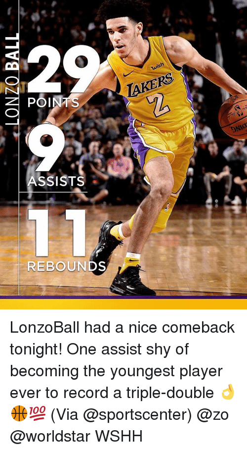 Memes, SportsCenter, and Worldstar: wish  POINTS  TAKERS  ASSISTS  REBOUNDS LonzoBall had a nice comeback tonight! One assist shy of becoming the youngest player ever to record a triple-double 👌🏀💯 (Via @sportscenter) @zo @worldstar WSHH