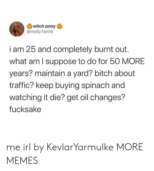 maintain: witch pony  @molly7anne  i am 25 and completely burnt out  what am I suppose to do for 50 MORE  years? maintain a yard? bitch about  traffic? keep buying spinach and  watching it die? get oil changes?  fucksake me irl by KevlarYarmulke MORE MEMES