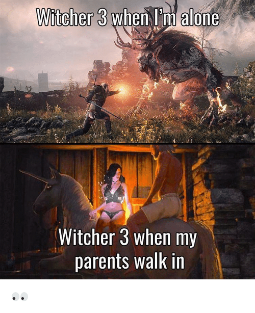Memes, 🤖, and Witcher: Witcher 3 when l'm alone  Witcher 3 when my  parents walk in 👀