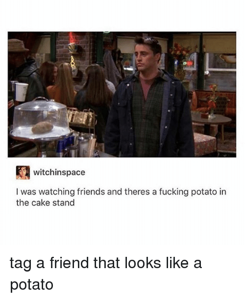 Friends, Fucking, and Tumblr: witchinspace  I was watching friends and theres a fucking potato in  the cake stand tag a friend that looks like a potato