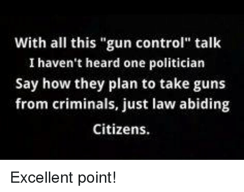 "Guns, Memes, and Control: With all this ""gun control"" talk  I haven't heard one politician  Say how they plan to take guns  from criminals, just law abiding  Citizens. Excellent point!"