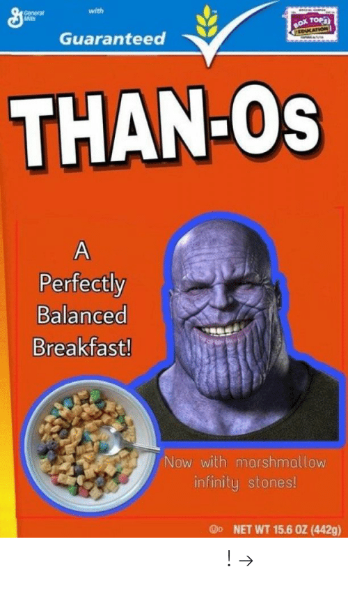 Pinterest, Breakfast, and Infinity: with  General  sseケ  Guaranteed  THAN Os  Perfectly  Balanced  Breakfast!  Now with marshmallow  infinity stones!  Oo  NET WT 15.6 0Z (442g) 𝘍𝘰𝘭𝘭𝘰𝘸 𝘮𝘺 𝘗𝘪𝘯𝘵𝘦𝘳𝘦𝘴𝘵! → 𝘤𝘩𝘦𝘳𝘳𝘺𝘩𝘢𝘪𝘳𝘦𝘥