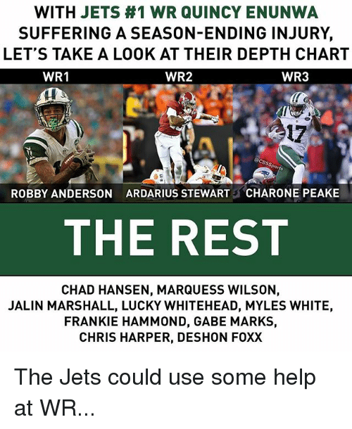 Memes, Help, and Jets: WITH JETS #1 WR QUINCY ENUNWA  SUFFERING A SEASON-ENDING INJURY,  LET'S TAKE A LOOK AT THEIR DEPTH CHART  WR2  WR1  WR3  17  ROBBY ANDERSON  ARDARIUS STEWART  CHARONE PEAKE  THE REST  CHAD HANSEN, MARQUESS WILSON,  JALIN MARSHALL, LUCKY WHITEHEAD, MYLES WHITE,  FRANKIE HAMMOND, GABE MARKS,  CHRIS HARPER, DESHON FOXX The Jets could use some help at WR...