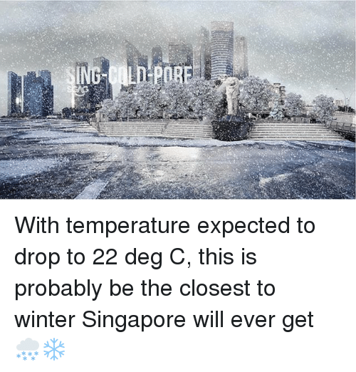 Memes, Winter, and Singapore: With temperature expected to drop to 22 deg C, this is probably be the closest to winter Singapore will ever get 🌨❄️