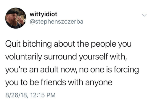 Bitching: wittyidioft  @stephenszczerba  Quit bitching about the people you  voluntarily surround yourself with,  you're an adult now, no one is forcing  you to be friends with anyone  8/26/18, 12:15 PM