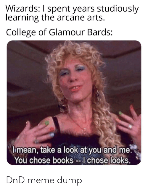 Arts: Wizards: I spent years studiously  learning the arcane arts.  College of Glamour Bards:  I mean, take a look at you and me.  You chose books --I chose looks. DnD meme dump