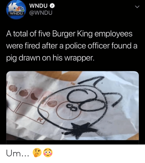 Burger King, Police, and Hood: WNDU  WNDU@WNDU  A total of five Burger King employees  were fired after a police officer found a  pig drawn on his wrapper.  TME  FC Um... 🤔😳
