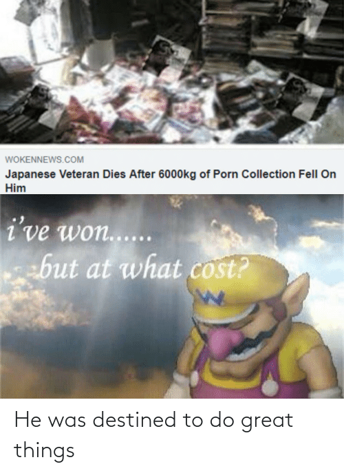 Porn, Japanese, and Com: WOKENNEWS.COM  Japanese Veteran Dies After 6000kg of Porn Collection Fell On  Him  i've won.....  but at what cost? He was destined to do great things