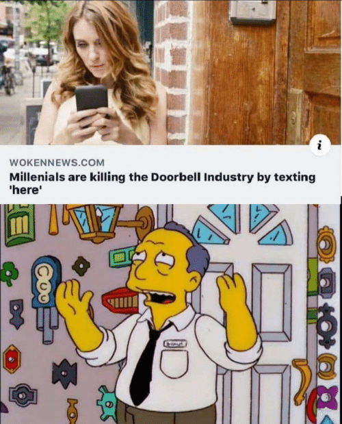 Texting, Com, and Millenials: WOKENNEWS.COM  Millenials are killing the Doorbell Industry by texting  'here'  A