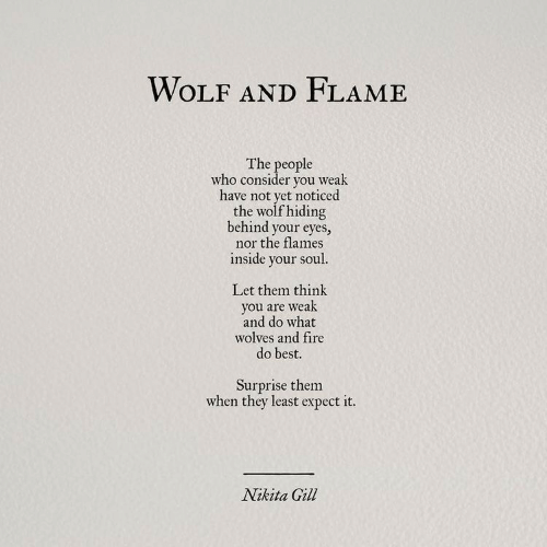 Fire, Best, and Wolf: WOLF AND FLAME  The people  who consider you weak  have not yet noticed  the wolf hiding  behind your eyes,  nor the flames  inside your soul.  Let them think  you are weak  and do what  wolves and fire  do best.  Surprise them  when they least expect it.  Nikita Gill