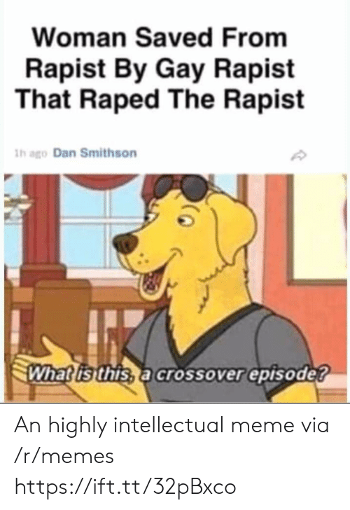 Meme, Memes, and What Is: Woman Saved From  Rapist By Gay Rapist  That Raped The Rapist  h ago Dan Smithson  What is this, a crossover episode? An highly intellectual meme via /r/memes https://ift.tt/32pBxco