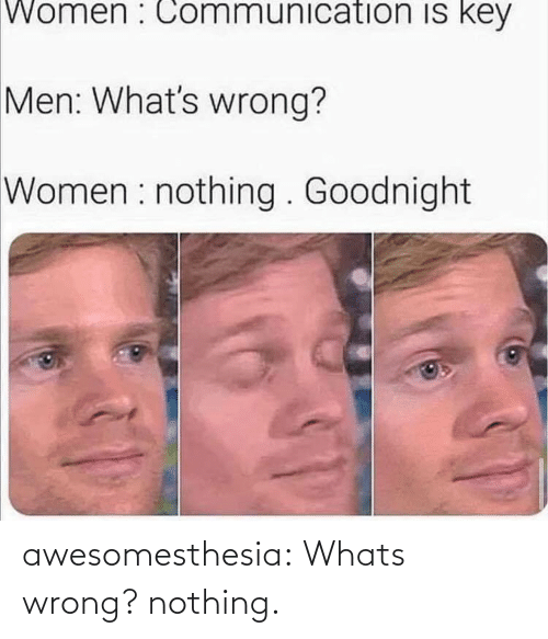Whats Wrong: Women : Communication is key  Men: What's wrong?  Women : nothing . Goodnight awesomesthesia:  Whats wrong? nothing.