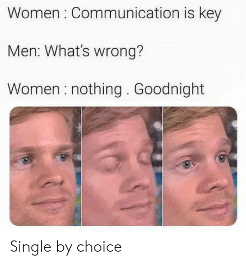 Whats Wrong: Women Communication is key  Men: What's wrong?  Women nothing. Goodnight Single by choice