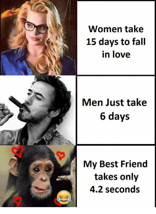 take 6: Women take  15 days to fall  in love  Men Just take  6 days  My Best Friend  takes only  4.2 seconds  マ