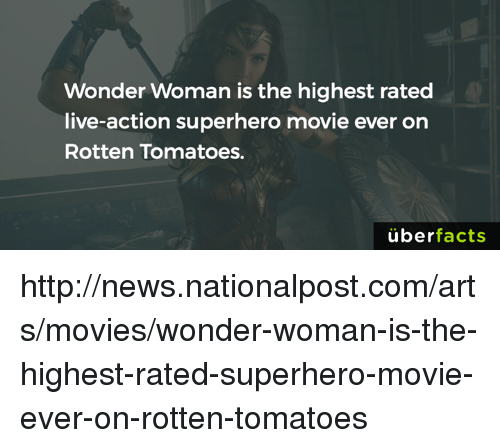Uber Facts: Wonder Woman is the highest rated  live-action superhero movie ever on  Rotten Tomatoes.  uber  facts http://news.nationalpost.com/arts/movies/wonder-woman-is-the-highest-rated-superhero-movie-ever-on-rotten-tomatoes