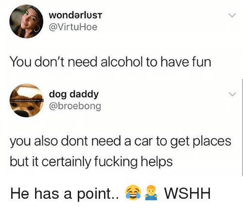 Fucking, Memes, and Wshh: wonderlusT  @VirtuHoe  You don't need alcohol to have fun  dog daddy  @broebong  you also dont need a car to get places  but it certainly fucking helps He has a point.. 😂🤷♂️ WSHH