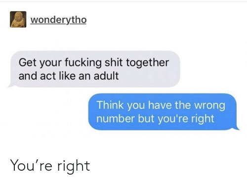 You Have The Wrong Number: wonderytho  Get your fucking shit together  and act like an adult  Think you have the wrong  number but you're right You're right