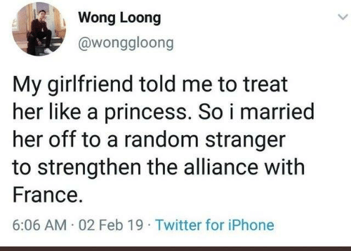 Dank, Iphone, and Twitter: Wong Loong  @wonggloong  My girlfriend told me to treat  her like a princess. So i married  her off to a random stranger  to strengthen the alliance with  France  6:06 AM 02 Feb 19 Twitter for iPhone