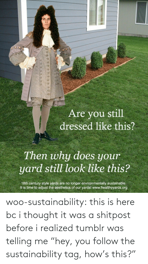 "Realized: woo-sustainability: this is here bc i thought it was a shitpost before i realized tumblr was telling me ""hey, you follow the sustainability tag, how's this?"""