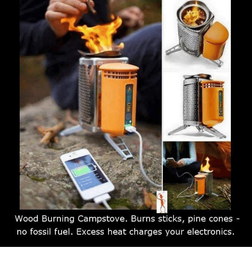 Memes, Fossil, and Heat: Wood Burning Campstove. Burns sticks, pine cones  no fossil fuel. Excess heat charges your electronics.