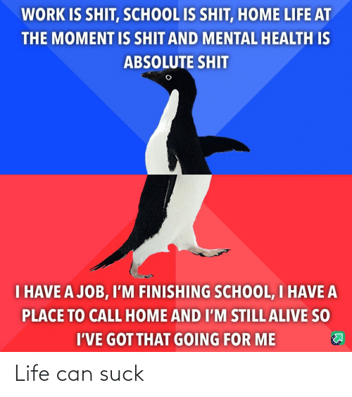 The Moment: WORK IS SHIT, SCHOOL IS SHIT, HOME LIFE AT  THE MOMENT IS SHIT AND MENTAL HEALTH IS  ABSOLUTE SHIT  I HAVE A JOB, I'M FINISHING SCHOOL, I HAVE A  PLACE TO CALL HOME AND I'M STILL ALIVE SO  I'VE GOT THAT GOING FOR ME Life can suck