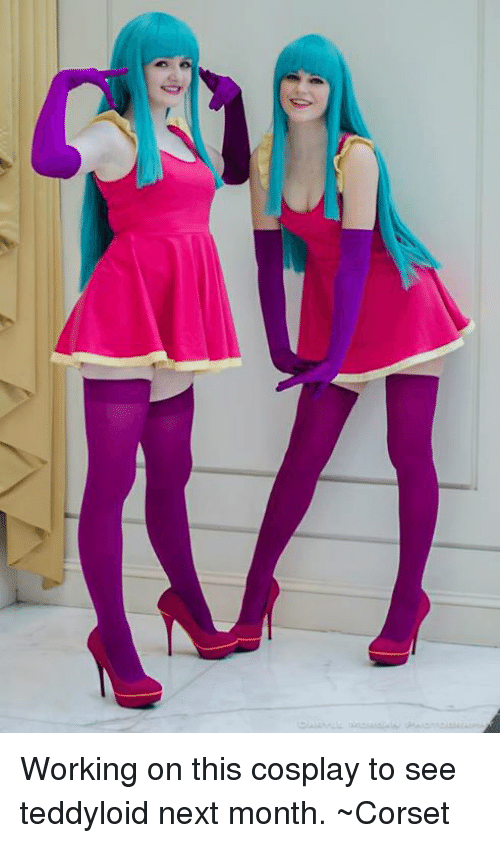 Teddyloid: Working on this cosplay to see teddyloid next month.  ~Corset