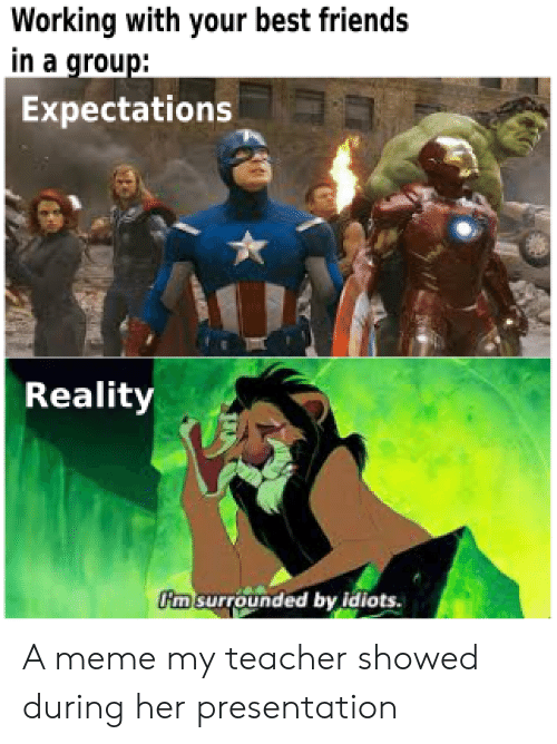 surrounded: Working with your best friends  in a group:  Expectations  Reality  m surrounded by idiots. A meme my teacher showed during her presentation