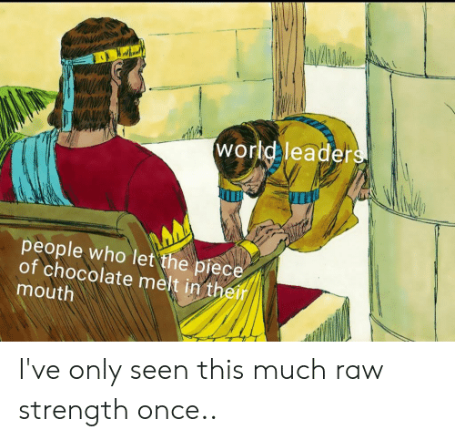 Chocolate, World, and Dank Memes: world leaders  people who let the piece  of chocolate melt in their  mouth I've only seen this much raw strength once..