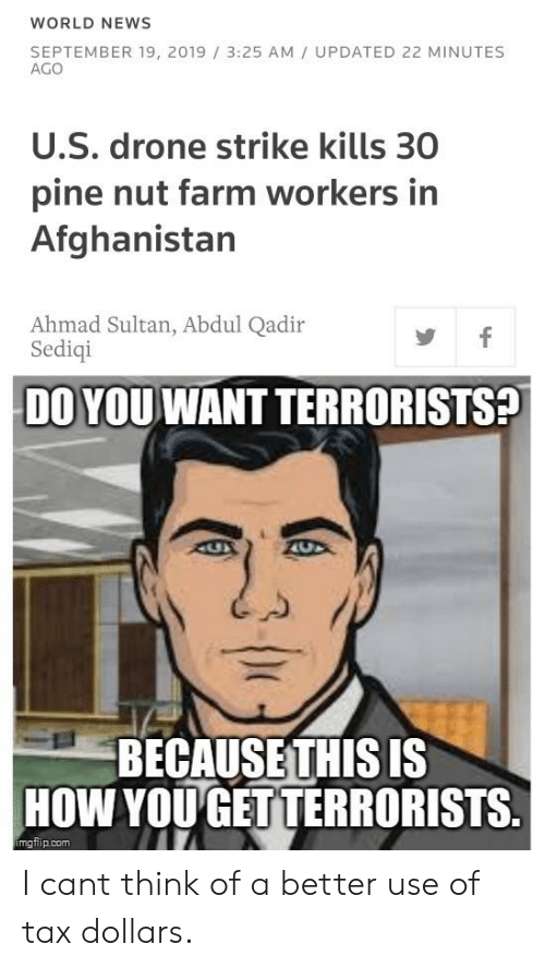 Drone, News, and Afghanistan: WORLD NEWS  SEPTEMBER 19, 2019 3:25 AM UPDATED 22 MINUTES  AGO  U.S. drone strike kills 30  pine nut farm workers in  Afghanistan  Ahmad Sultan, Abdul Qadir  Sediqi  f  DO YOU WANT TERRORISTS?  AUX  BECAUSETHIS IS  HOW YOU GET TERRORISTS.  imgflip.com I cant think of a better use of tax dollars.