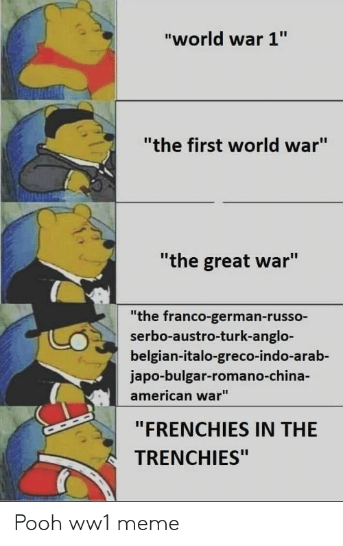 "Meme, American, and World: ""world war 1""  ""the first world war""  ""the great war""  ""the franco-german-russo-  serbo-austro-turk-anglo-  belgian-italo-greco-indo-arab-  japo-bulgar-romano-ch  american war""  ""FRENCHIES IN THE  TRENCHIES"" Pooh ww1 meme"