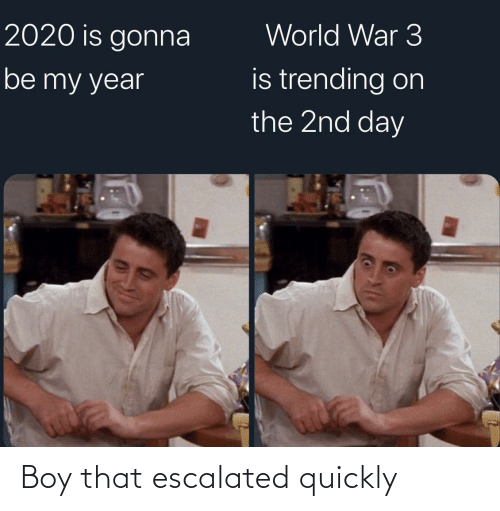 Quickly: World War 3  2020 is gonna  is trending on  the 2nd day  be my year Boy that escalated quickly